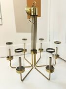 Mid Century Vintage 6 Arm Brass Chandelier With Brass Rimmed Glass Shades.