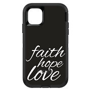Otterbox Defender For Apple Iphone Pick Model Faith / Hope / Love Black White