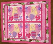 Barbie Quilt Blanket @ 44 X 52 Cotton Front And Flannel Back Fabric Washable