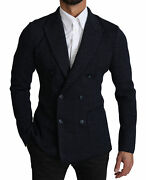 Dolce And Gabbana Blazer Dark Blue Dotted Double Breasted Coat Eu46/ Us36/ S 1500