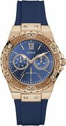 Guess Womens Limelight Rose Gold Plated Blue Resin Strap Wrist Watch W1053l1 New