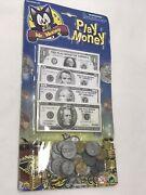 Play Money Kids Toy Cash Paper Dollar Bills And Coins Party Fake Bank Games