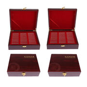 4 Pieces Wooden Coin Box Case Holder Holds 30pcs Coins 46mm Sized Medals