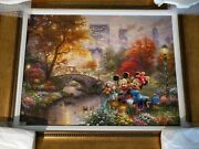 Thomas Kinkade Painting Mickey And Minnie Giclee In Color On Canvas Signed/