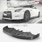 Oe Style Carbon Fiber Glossy Front Lip With Under Tray For Nissan R35 2012+ Gtr