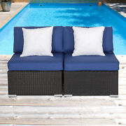 2pc Outdoor Furniture Patio Pe Rattan Sofa Cushioned Armless Couch With Pillows