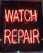 """Watch Repair Red Neon Sign Handmade 