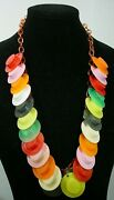 Vintage Celluloid Chain With Plastic Hats Dangles Charms Necklace