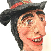 Vintage Primitive Spooky Witch On A Bed Spring Hand Made Paper Mache Halloween