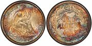 1886 Liberty Seated Dime Pcgs Ms66 Stunning Toning