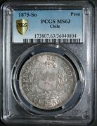1875-so Chile Silver Peso Pcgs Ms63 Rare - Only 2 Graded Higher
