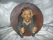 Large Antique 3-d Ceramic Male Sculpture On Wood Plate Hanging Diorama By R.p.