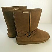 Bearpaw Women's Brown Suede Sherpa Lined Boots Size 9 [24]