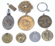 Lot 9 Vintage Tokens, Pendants, Aries Necklace 36l And Coin Bezel 1.5d To 1d