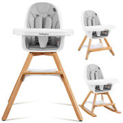 Babyjoy 3-in-1 Convertible Wooden Baby High Chair W/ Tray Adjustable Legs Gray
