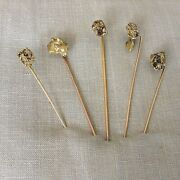 Lot Of 5 Antique C1890 Natural 22k Pure Gold Rush Nugget Stick Pins 19.13g