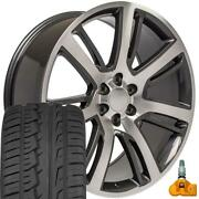 Oew Fits 24x10 Machand039d Gunmetal Escalade Wheels 305/35r24 Tires And Tpms