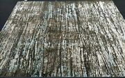 8and039x10and039 Indian Rug Carpet Hand-knotted Gray Modern Oriental Wool / Silk Tibetanandnbsp