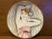 Vintage Italy Art Deco Woman Veneto Flair Hand Painted Plate Signed V Tiziano