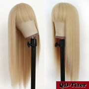Blonde Color Hair Synthetic No Lace Wigs Women Full Bangs Natural Heat Resistant
