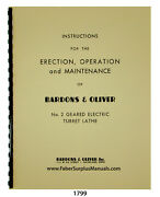 Bardons And Oliver No. 2 Geared Lathe Operation And Maintenance Manual 1799