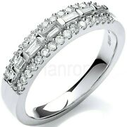 Certificated Diamond Eternity Ring 18k Baguette Cut Centre Band Large Size R - Z