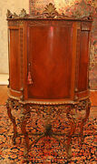Fantastic French Kingwood Carved Blind Door Curio China Cabinet Circa 1920and039s