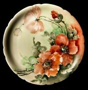 Rare Collectible Antique Xix Century Genuine Lemoges Decorative Plate Poppy