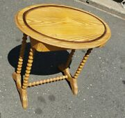 Antique Oval Stenciled Pine Side Table Spool Legs  Circa 1890's We Ship