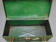 Vintage Union Steel Chest Usa Utility Tackle Tool Box Rusty 14 X 6-3/4 X 6