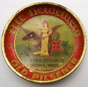 Antique Columbia Brewing Old Pilsener Beer Coaster Tray Germany Tin Litho 6