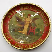 Antique Columbia Brewing Old Pilsener Beer Coaster Tray Germany Tin Litho 9