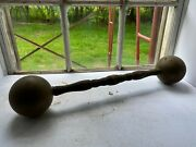Vintage 1800s Primitive Circus Sideshow Ornate Brass Wood Show Weight Dumbbell