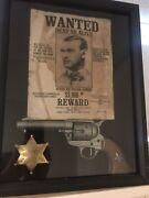 Jesse James Replica Pistol Gun W Badge And Wanted Poster Shadow Box Framed