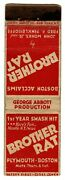 Brother Rat Matchcover Matchbook - Broadway Play - Plymouth - Boston