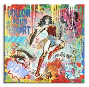 Love Wonder Woman Original Painting Mix Media On Canvas By Dr8love Coa