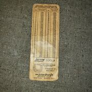 Vintage The Lufkin Tools Machinist Chart Card For Decimal Equivalents Of Drills