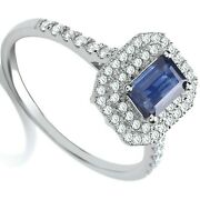 Sapphire And Diamond Engagement Ring 18k White Gold Certificate Large Size R-z
