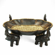 Triumphant Elephant Leaves Carved Rain Tree Wooden Tray