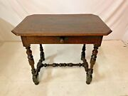 Antique French Walnut Writing Desk Table Occasional Lamp Entry Louis Xiii 1800s