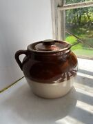 Vintage Robinson Ransbottom Pottery Brown And White Bean Pot Clay Blue Crown 3