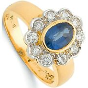 Sapphire And Diamond Cluster Ring 18k Yellow Gold Certificate Large Size R - Z