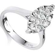 Certificated Diamond Marquise Ring Engagement 18k White Gold 0.75ct Size J - Q