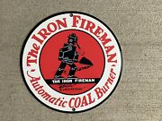 The Iron Fireman Automatic Coal Burner Vintage Reproduction Round Metal Sign
