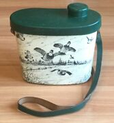 Old Vtg Mc Weider Quail Hunting Signed Art Thermos Bird Duck Canteen Green Strap