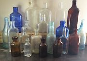 Vtg Antique Embossed Medicine Apothecary Glass Lysol Conti Bluing 20 Bottle Lot