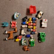 Vintage Fisher Price Little People Lot Animals Baby Cars Ambulance And More