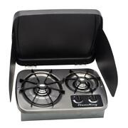 2 Burner Rv Cooktop Stove Drop In With Cover Lp Gas 7200 And 5200 Btu Flame King