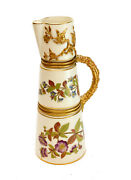 Royal Worcester Hand Painted Porcelain Ewer, 1887. Flowers And Leaves