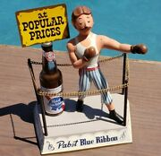 Vintage Pabst Blue Ribbon Display Metal Boxing Ring With Boxer And Beer Bottle Exc